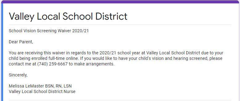 Valley Local Schools Vision Screening Waiver